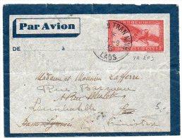 Indochine : Entier Postal De 1938 Par Avion Oblitéré Du Laos Pour La France - 1 TIMBRE ABSENT - Briefe U. Dokumente