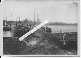 Oise Verberie Pont De Chalands Construit Par Les Mariniers Péniches 1 Photo 1914-1918 14-18  Ww1 Wk1 - Guerra, Militari