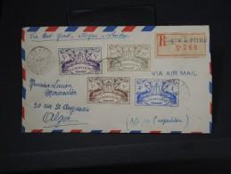FRANCE- GUADELOUPE  LETTRE DE POINT A PITRE EN RECOMANDE POUR ALGER  AVEC ETIQUETTE DE  DOUANE  AFF PLAISANT   LOT P2662 - Brieven En Documenten