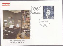 AUTRICHE : FDC : Centenaire De La Naissance D'Alban Berg  Compositeur - FDC
