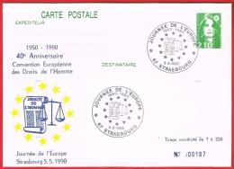 Journée De L'Europe 1950-1990 Strasbourg 5.5.1990 - Postal Stamped Stationery