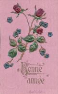 Bonne Année, Des Roses, Litho Gaufrée (1106) - Nouvel An
