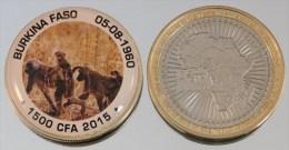 Burkina Faso 1500 CFA 2015 Bimetal + Couleurs Animal Singe - Burkina Faso