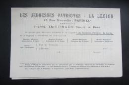 Les Jeunesses Patriotes De La Légion  Pierre Taittinger Feuille D'engagement - Documents