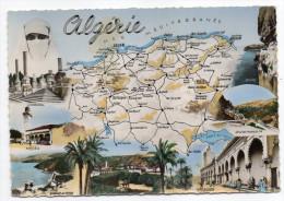 Alg�rie--Carte g�ographique du Pays,Multivues-(Cherchell,M�d�a,Alger,Bougie,Blida)cpsm 15 x 10 n�1528  �d CAP