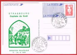 Christkindelsmärik Marché De Noël Bienvenue à Strasbourg  Capitale De Noël 17.12.1994 - Postal Stamped Stationery