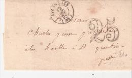 Manche :- AVRANCHES Dateur Type 15 Taxe 25 Au Tampon - 1801-1848: Précurseurs XIX
