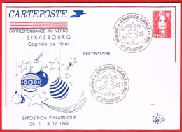 Bienvenue à Strasbourg Capitale De Noël 27.11.93 - Postal Stamped Stationery