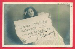 165206 / PORTRAIT GIRL - Herzlichen Glückwunsch Zum Heutigen Tage ! - AE 3074/5 USED POPOVO - ROUSSE 1906 BULGARIA - Portraits