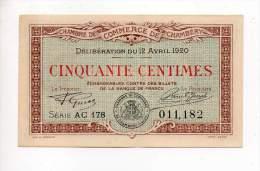 Chambery - 50 Cts - 12 Avril 1920 - Série AC 178 - Sans Filigrane - Chambre De Commerce