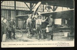 Yvelines 78 Buc Paris Rome 28 Mai 1911 Appareil Morane Piloté Par Frey Faisant Son Plein D'automobiline Avec Vignette - Buc