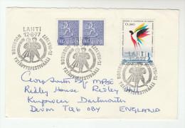 1977 FINLAND  FOLK DANCE EVENT Pmk COVER Heraldic Lion Bird Stamps Theatre Costume - Dance