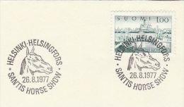 1977 FINLAND  SANTIS HORSE SHOW EVENT  Pmk COVER Horses Stamps - Horses