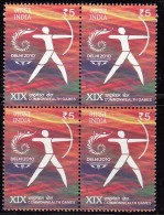 India MNH 2010, Block Of 4, Commonwealth Games, Sport, Archery - Blocks & Kleinbögen