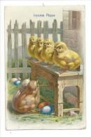 12054 -  Joyeuses Pâques Poussins Et Oeufs  Carte En Relief - Pâques
