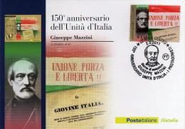 Italia 2011 Cartolina FDC Annullo Genova 150° Unità D'Italia I Protagonisti Giuseppe Mazzini La Giovine Italia - 6. 1946-.. República
