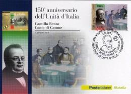 Italia 2011 Cartolina FDC Annullo Torino 150° Unità D'Italia I Protagonisti Camillo Benso Conte Di Cavour - 6. 1946-.. República