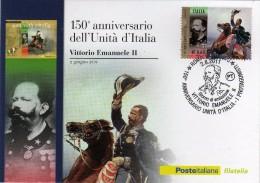 Italia 2011 Cartolina FDC Annullo Roma 150° Unità D'Italia I Protagonisti Re Vittorio Emanuele II - 6. 1946-.. República