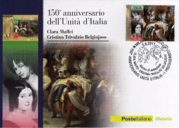 Italia 2011 Cartolina FDC Annullo Milano 150° Unità D'Italia I Protagonisti Carla Maffei E Cristina Trivulzio Belgiojoso - 6. 1946-.. República