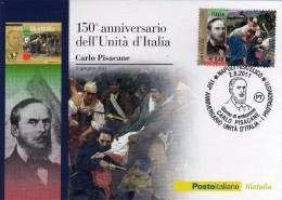 Italia 2011 Cartolina FDC Annullo Napoli 150° Unità D'Italia I Protagonisti Carlo Pisacane - 6. 1946-.. República