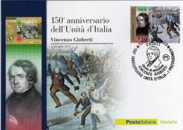 Italia 2011 Cartolina FDC Annullo Torino 150° Unità D'Italia I Protagonisti Vincenzo Gioberti - 6. 1946-.. República
