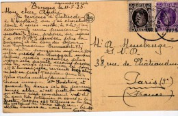 2578    Postal Bélgica Bruges  1925 - Bélgica
