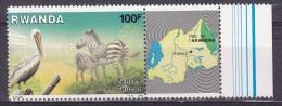 T]  Timbres + Vignette ** Stamp + Label ** Parc De L´ Akagera Park Pelican Et Zèbre Zebra 1986 - 1980-89: Neufs