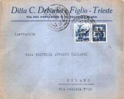 TRIESTE A 1949. BUSTA COMMERCIALE PER MILANO CON AFFRANCATURA DEMOCRATICA BICOLORE PER £ 20. - Trieste