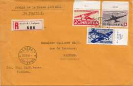 SCHWEIZ 1944 - RECO Luftpostbrief Mit Seltener Frankierung, Marken Mit Randstücke