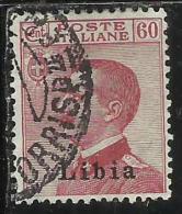 LIBIA 1917 1918 SOPRASTAMPATO D´ITALIA ITALY SURCHARGED RE VITTORIO EMANUELE III KING CENT. 60 USATO USED OBLITERE´ - Libya