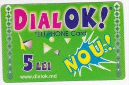 Moldova  Moldavie  , DIALOK , Prepaid   Telephone Card  , 5 Lei   ;  RARE , Plastic , Used - Telecom