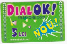 Moldova  Moldavie  , DIALOK , Prepaid   Telephone Card  , 5 Lei   ;  RARE , Plastic , Used - Telecom Operators