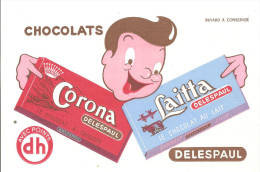 Buvard Chocolats Corona Laitta Le Chocolat DELESPAUL - Cacao