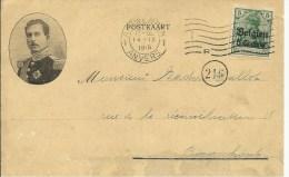 1915  Carte postale censur�e de Blason vers Tournai  Censure Mons  Cachet sec Charbonnages Bernissart