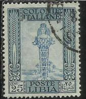 COLONIE ITALIANE LIBIA 1921 PITTORICA PICTORIAL FILIGRANA CORONA CENT. 15 USATO USED OBLITERE´ - Libya