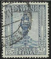 COLONIE ITALIANE LIBIA 1921 PITTORICA PICTORIAL FILIGRANA CORONA CENT. 15 USATO USED OBLITERE´ - Libia