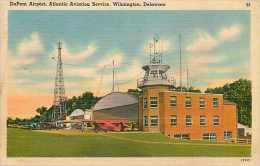 236847-Delaware, Wilmington, DuPont Airport, Atlantic Aviation Service, Linen Postcard, Del Mar News Agency No 72635 - Flugzeuge