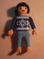 1 FIGURINE FIGURE DOLL PUPPET DUMMY TOY IMAGE POUPÉE - GIRL SWEAT BAREFOOT PLAYMOBIL GEOBRA - Playmobil