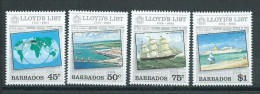 Barbados 1984 Lloyds Of London Shipping & Insurance Set 4 MNH - Barbados (1966-...)