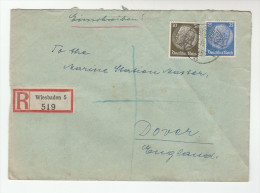 1938 REGISTERED Wisbaden GERMANY  Stamps COVER To GB - Germany