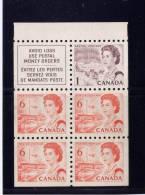 CANADA 1967, #454b, CENTENNIAL DEFINITIVES LOW-VALU, PANE FROM  #59, NO GUM..WAS GLUED TO COVER - 1952-.... Règne D'Elizabeth II