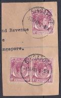 Malaya Singapore 1948 10c Used On Piece - Singapore (1959-...)