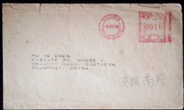 CHINA CHINE 1958  HONGKONG TO SHANGHAI COVER WITH METER POSTMARK - Hong Kong (1997-...)