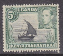 Kenya Uganda Tanganyika George VI, 1938 Definitive,  5 Cents , Black & Green,  MH * - Kenya, Uganda & Tanganyika