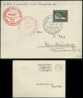 WW II Postkarte Sudetenland Zeppelinfahrt: Gebraucht Frankfurt Main - Reichenberg - Berlin 1938, Bedarfserhaltung. - Germany