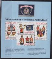 = Jamaïque 1977 Bloc Neuf De 4 Timbres 50è Anniversaire De La Musique Jamaïcaine Militaire - Jamaica (1962-...)