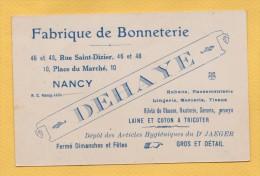 NANCY MEUTHE ET MOSELLE FABRIQUE DE BONNETERIE DELAHAYE  CARTE COMMERCIALE ANCIENNE - Cartes De Visite