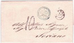 "1869-lettre De "" Ingeniere Primario Pontifico * VITERBO * Taxe 10 Tampon Pour Soriano - Italy"