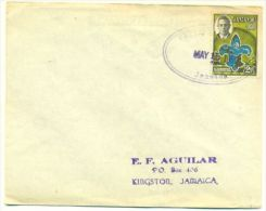 JAMAICA 1952 Caribbean Jamboree Stamp On Cover OVAL HANDSTAMP Prickley Pole - Barbades (1966-...)