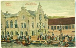 Fish Market Libau / Liepaja Latvia Harbor Life Small Boats Color Card Sent 1912 - Lettonie